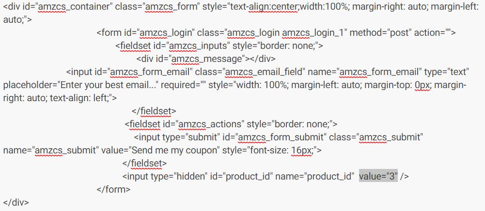 AMZ Coupon Server Form Raw HTML